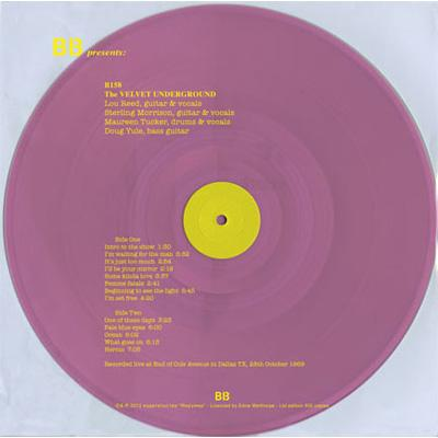 商品詳細 : VELVET UNDERGROUND(LP) LIVE IN DALLAS TX: 28 OCTOBER 1969 【全世界限定500枚生産】