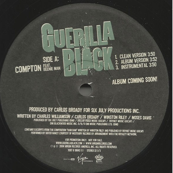 商品詳細 : 【USED】GUERILLA BLACK FEAT. BEENIE MAN(12) COMPTON